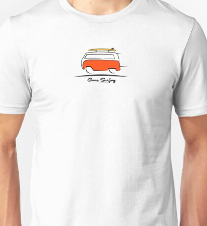 Red VW Bus Van Gone Surfing  Unisex T-Shirt