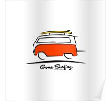 Red Van Gone Surfing  Poster