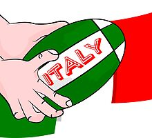 Italy Rugby Ball Flag by piedaydesigns