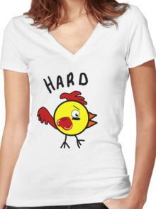 Hard Cock Women's Fitted V-Neck T-Shirt