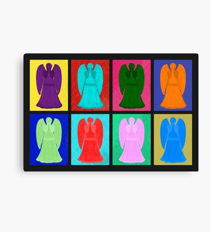Weeping angels Pop Art Colour Canvas Print