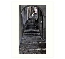 Walking up the stairs in Bellagio Art Print