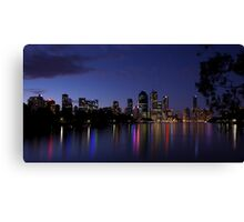 Blue Night & Coloured Lights Canvas Print