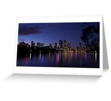 Blue Night & Coloured Lights Greeting Card