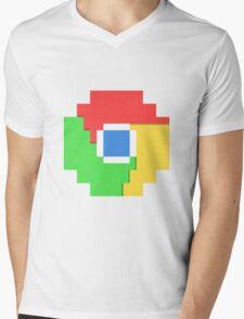 Pixel Chrome Icon Mens V-Neck T-Shirt