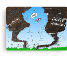 Binary Options News Cartoon Twin Twisters Canvas Print