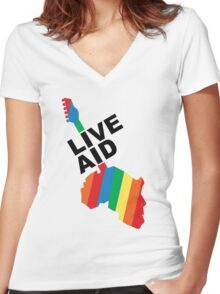 Live Aid Concet 1985 Women's Fitted V-Neck T-Shirt