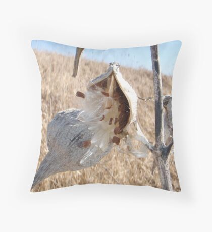 Milkweed pod in spring Throw Pillow