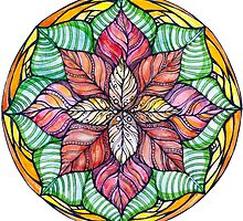 Christmas mandala.Hand draw  ink and pen, Watercolor, on textured paper by Sviatlana Kandybovich