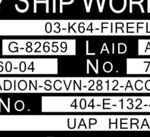 Firefly Ship Works Ltd. Sticker Sticker