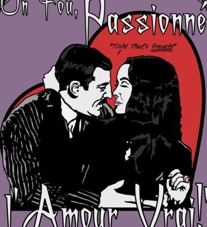 """Un Fou, Passionné, l'Amour Vrai!""- One Crazy, Passionate, True Love! (purple) Sticker"