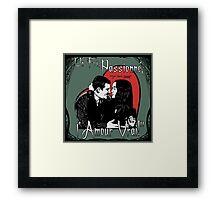 """Un Fou, Passionné, l'Amour Vrai!""- One Crazy, Passionate, True Love! (green) Framed Print"