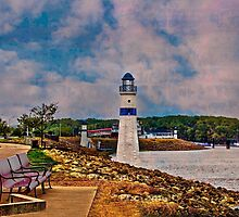Lighthouse At The Mighty Mississippi by Linda Miller Gesualdo