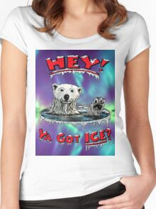 "Waving Polar Bear: ""Hey! Ya Got ICE?"" Women's Fitted Scoop T-Shirt"