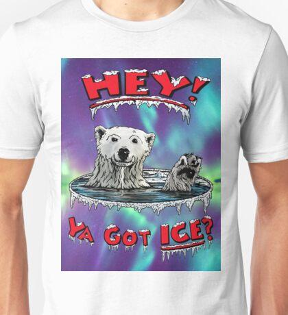 "Waving Polar Bear: ""Hey! Ya Got ICE?"" Unisex T-Shirt"