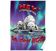 "Mother & Cub Polar Bears: ""Hey! Ya Got ICE?"" Poster"