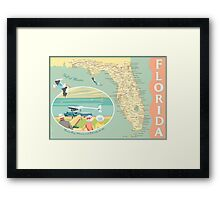 Florida Map with Dinner Key Framed Print