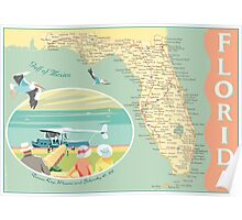 Florida Map with Dinner Key Poster