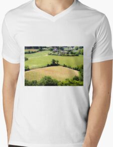 Rolling green hills with trees Photographed in Tuscany, Italy Mens V-Neck T-Shirt