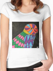 Abstract bird colorful design Women's Fitted Scoop T-Shirt