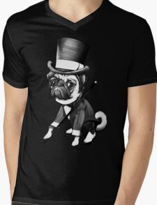 Pug Fred Astaire Mens V-Neck T-Shirt