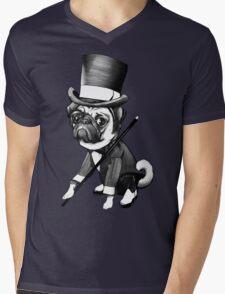 Pug Fred Astaire Mens V-Neck T-Shirt