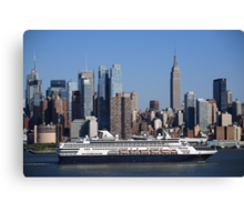 New York City Skyline and Cruise Ship Canvas Print