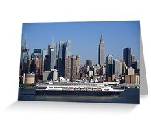 New York City Skyline and Cruise Ship Greeting Card
