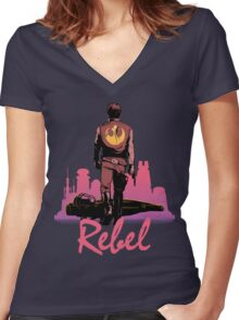Rebel Women's Fitted V-Neck T-Shirt