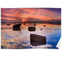 Sunrise Reflection At Low Tide Poster