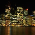 brisbane city lights with a twist  by warren dacey