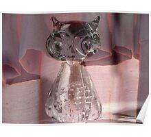 Owl with Pink Curtain Poster