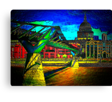 St Pauls Cathedral and the Millennium Bridge  Canvas Print