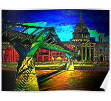 St Pauls Cathedral and the Millennium Bridge  Poster