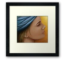 Woman with blue bandana Framed Print