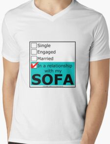 In A Relationship With My Sofa Mens V-Neck T-Shirt