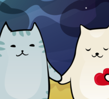 Cats under the moon Sticker