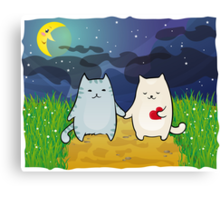 Cats under the moon Canvas Print