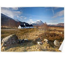 Winter sunshine at Blackrock Cottage, Glencoe, Scottish Highlands Poster