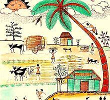 Busy Warli Day by AnjaliVaidya