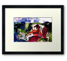 Fell asleep while sunning in garden, watercolor Framed Print