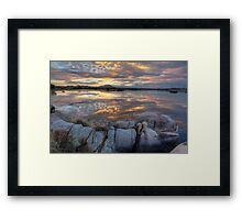 Sundown Willow Lake Framed Print