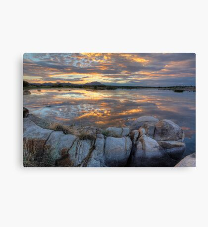 Sundown Willow Lake Canvas Print