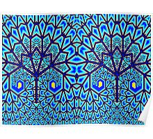 Blue and Yellow Plume Fractal Trees  Poster