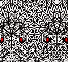 White and Red Plume Fractal Trees by Beatriz  Cruz