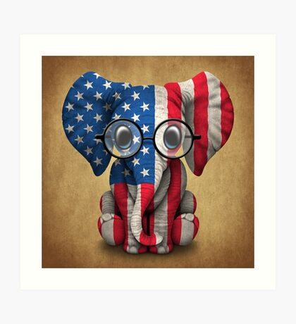 Baby Elephant with Glasses and American Flag Art Print