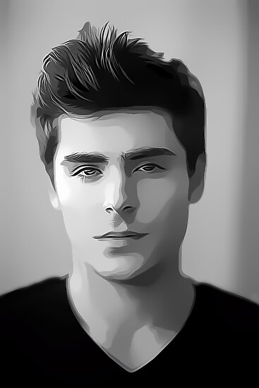 Zac Efron Digital Art Portrait by David Alexander Elder by David Alexander Elder