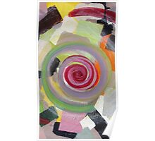 Colorful, yellow, black, orange, red, pink, gray, abstract 1 Poster