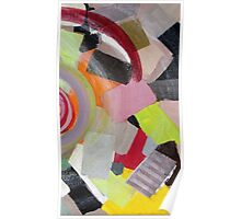 Colorful, yellow, black, orange, red, pink, gray, abstract 3 Poster
