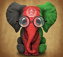 Baby Elephant with Glasses and Afghan Flag by Jeff Bartels